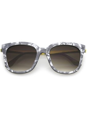 b51548f1c868 Product Image sunglassLA - Modern Marble Print Square Sunglasses Horn Rimmed  Round Gradient Lens 53mm - 53mm