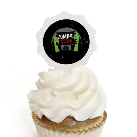Zombie Zone - Cupcake Picks with Stickers - Halloween or Birthday Zombie Crawl Party Cupcake Toppers - 12 Count](Halloween Cupcakes Jack)