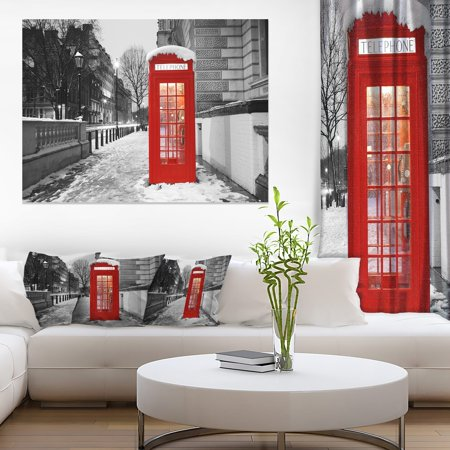 Design Art Red London Telephone Booth Cityscape Photographic Print on Wrapped -