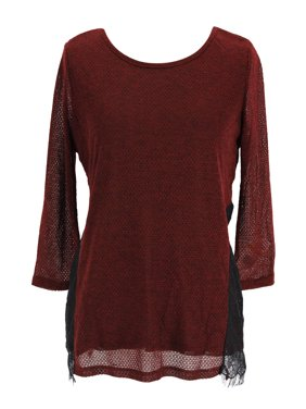 22203b3fc98454 Product Image INC International Concepts 3/4 Sleeve Womens Knit Top Size S  US Regular Red