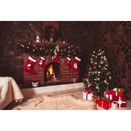 GreenDecor Polyester Fabric 7x5ft Red Brick Fireplace Christmas Backdrop Vintage Stone Wall Glitter Christmas Tree Photography Backdrop Christmas Background for Parties - Stone Wall Background