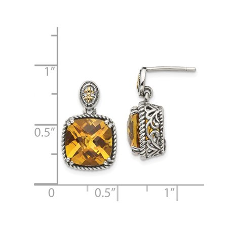 Natural Citrine 7.20 Carat (ctw) Post Drop Earrings in Sterling Silver with 14K Gold Accents - image 1 de 3