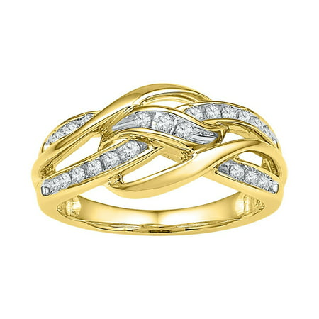 Woven Strand Spring Ring (10kt Yellow Gold Womens Round Diamond Woven Knot Strand Ring Band (.25 cttw.) )