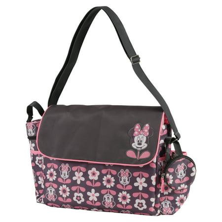 Disney Minnie Mouse Multi Piece Duffle Diaper Bag with Flap, Floral Print