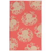 Liora Manne Terrace 1784/27 Octopus Coral Area Rug 7 Feet 10 Inches X 9 Feet 10 Inches