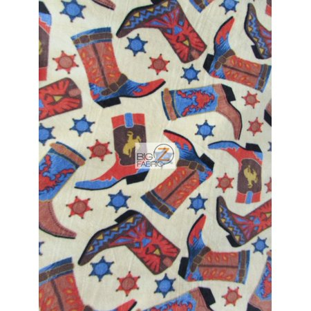 David Textiles Fleece Printed Fabric / Cowboy Boots Tan / Sold By The Yard