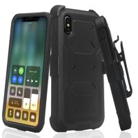 iPhone XS-MAX Case, [Built in Screen Protector]Full Body Shock Proof Holster Belt Clip Phone Case [Kickstand] Shock Proof Phone Case for iPhone XS MAX (2018) Black