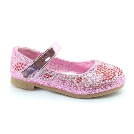 Little Girls Pink Red Glitter Rhinestone Mary Jane Dress Shoes