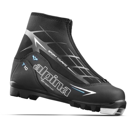 Alpina Sports Women's T10 Eve Touring Ski Boots with Zippered Lace Cover Black/White/Blue Euro 42 (Ski Sonnenbrille Alpina)