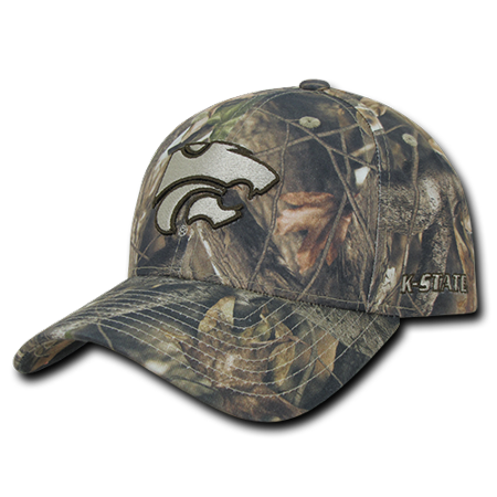 NCAA K-State Kansas State University Structured Hybricam Camouflage Caps Hat GBR - Kansas State University Leather