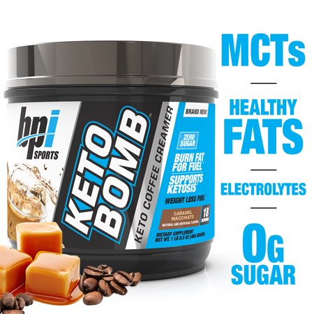 BPI Health Keto Bomb Ketogenic Creamer Powder, Caramel Macchiato, 16.5 Oz, 18 Servings