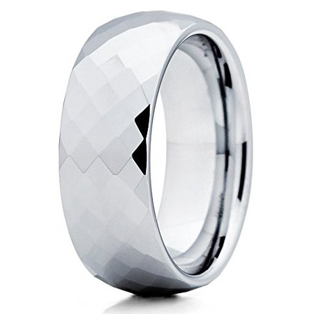 Polished Silver Tungsten Wedding Band Faceted Diamong Tungsten Ring 8mm Tungsten Carbide Band Comfort Fit Mens Womens - Faceted Tungsten Carbide Fashion Ring
