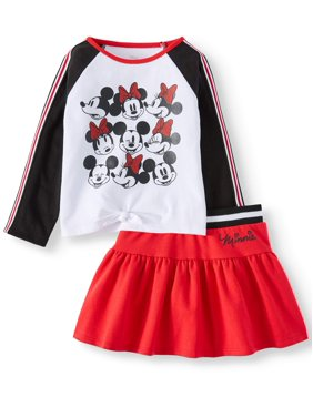 Minnie Mouse Long Sleeve Tie Front Top and Scooter Skirt, 2pc Outfit Set (Toddler Girls)