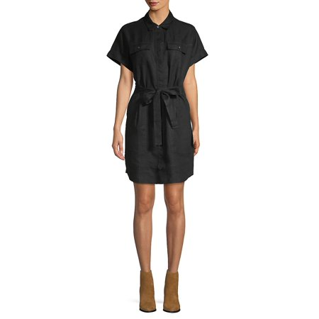 Tie-Front Short-Sleeve Dress Anne Klein Black Dress