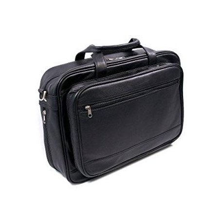 Expandable Briefcase in Milano Top Grain Leather w Laptop Pocket (Black)