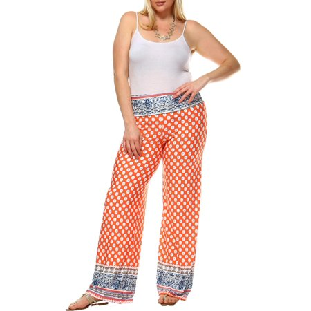 fashionable and attractive package classic chic Discover White Mark Women's Plus Size Border Printed Palazzo Pants