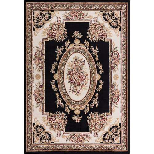Chantilly Medallion Black 5x7 ( 5' x 7' ) Traditional European Floral Border Thin Value Area Rug Perfect for Living Room Dining Room Family Room