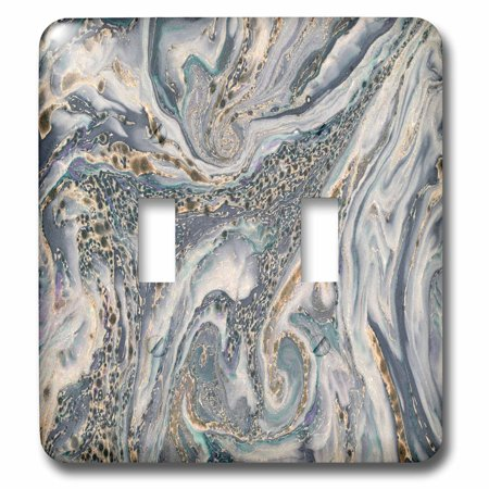 3dRose Blue Gray and Gold Marble Texture Effect - Double Toggle Switch