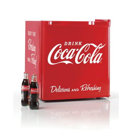 Nostalgia CRF170COKE Coca-Cola 1.7 Cu Ft Refrigerator with Freezer Compartment