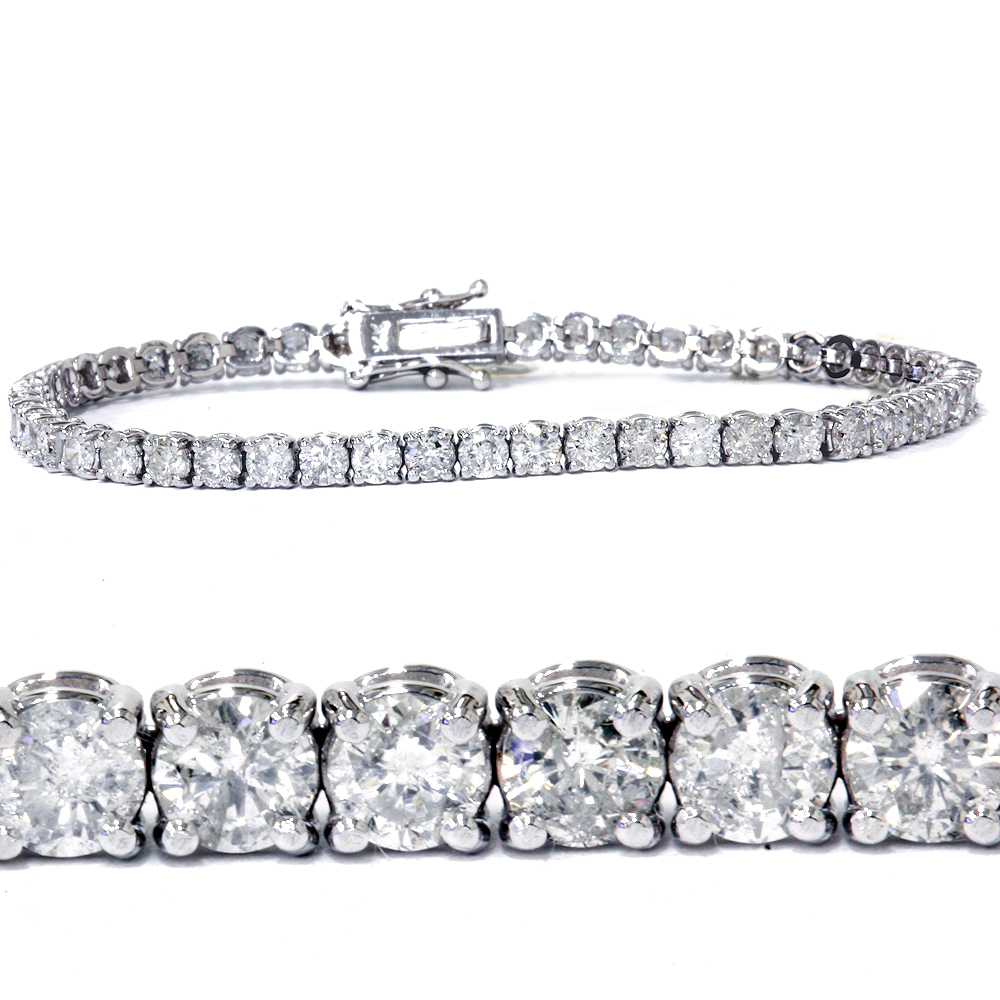 7ct Diamond Tennis Bracelet 14K White Gold by Pompeii3