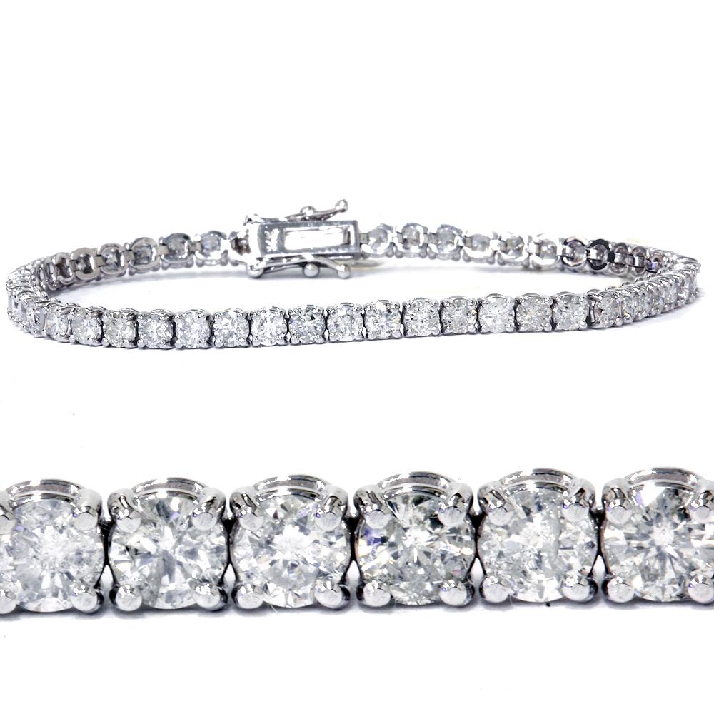 """6.25 Ct Diamond Tennis Bracelet 7"""" One Row Natural Round Diamonds 14K White Gold"""