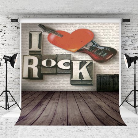 GreenDecor Polyster 5x7ft Rock Music Photography Backdrop Red Hearts Retro Dark Wood Floor Background for Photographer Photo Studio Backdrops ()