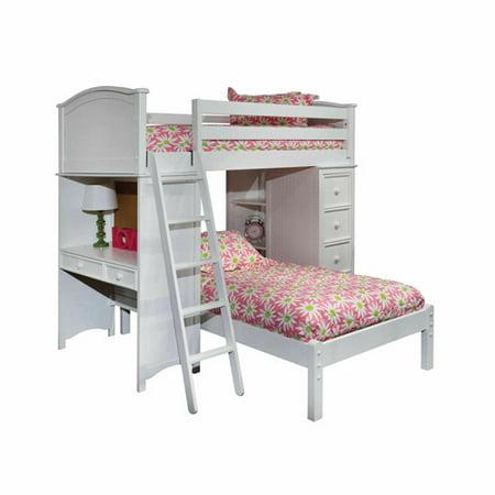 Sleep Study Storage Loft Bed Lower Platform Bed White