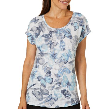 Burnout Zebra - Coral Bay Womens Butterfly Zebra Burnout Top Small Blue/black/white