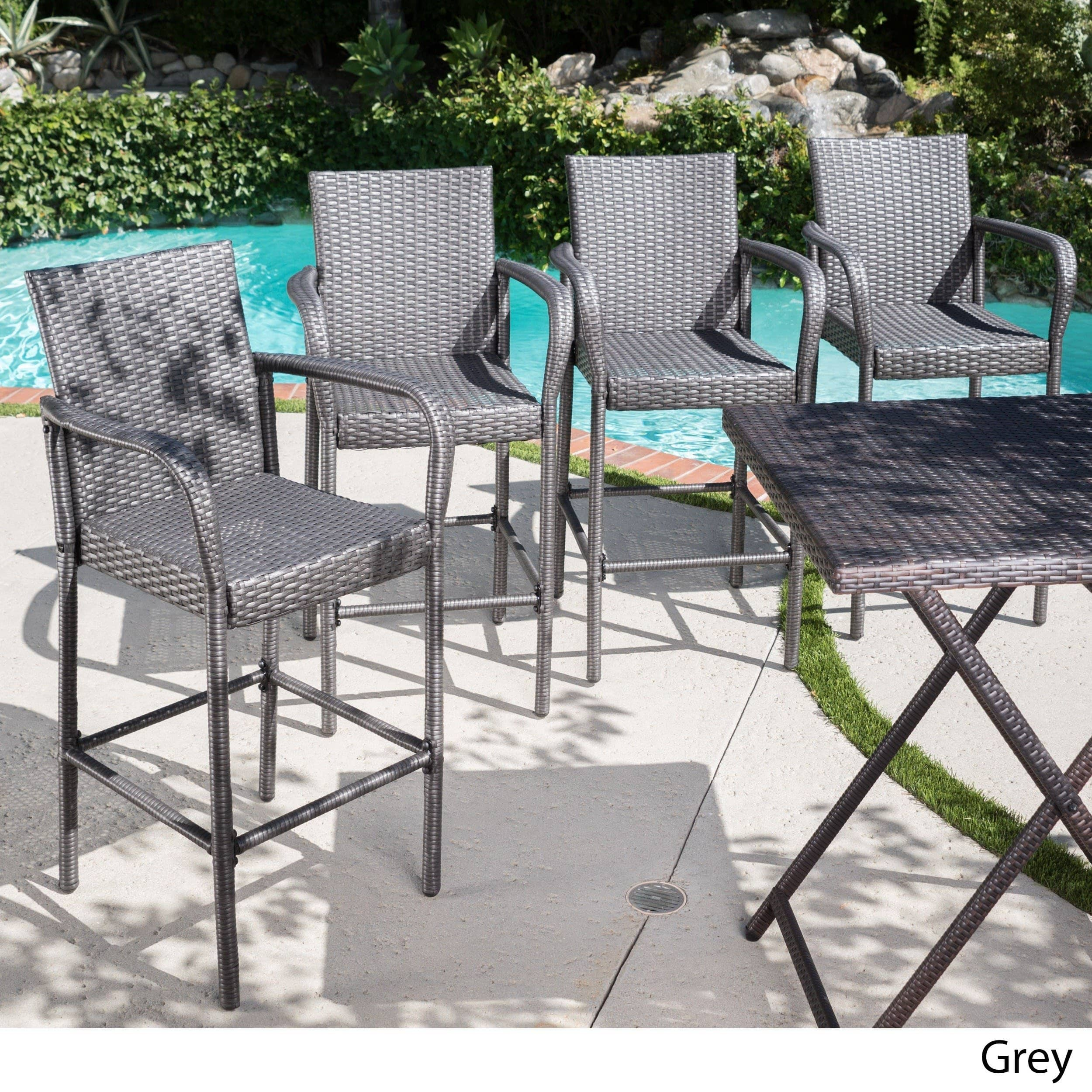 Christopher Knight Home Delfina Outdoor Wicker Barstool (Set of 4) by