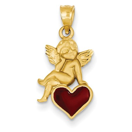 (14k Enameled Angel on Heart Pendant)