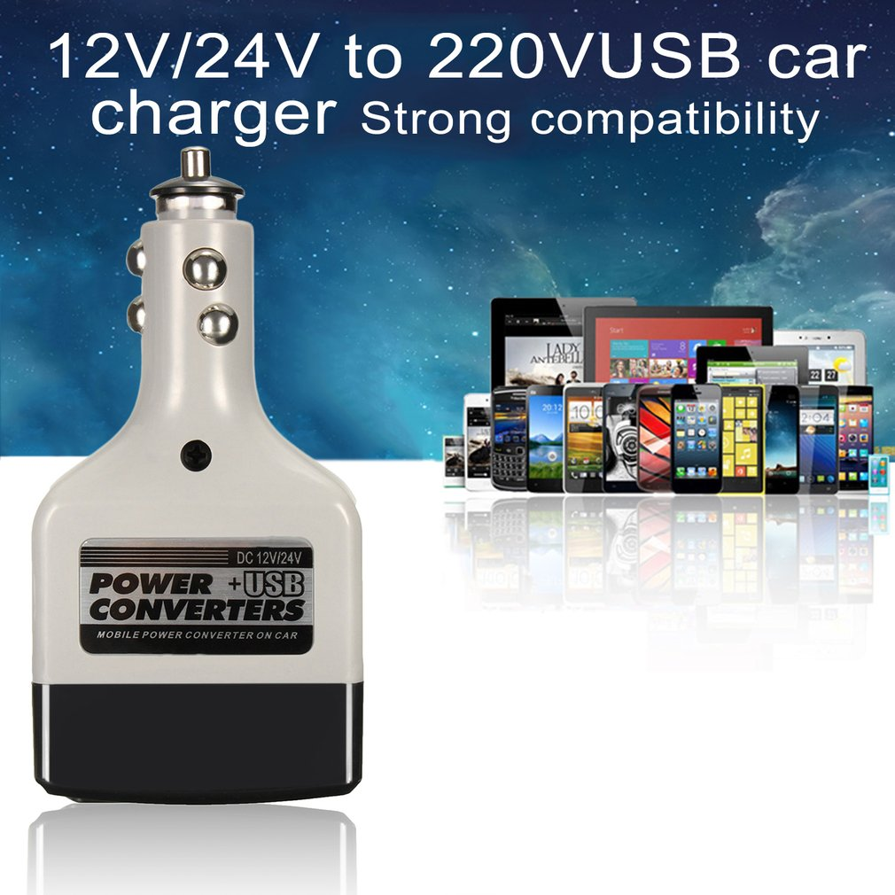 4 PCS DC 12/24V To AC 220V USB Car Mobile Power Inverter Adapter