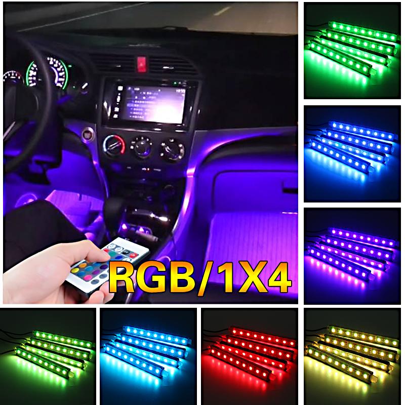 4X 36 LED Car Interior Atmosphere Light Music+Remote Control Color RGB Neon Lamp