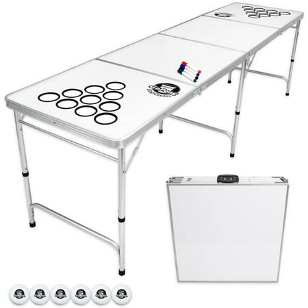 GoPong 8' Custom Dry Erase Portable Folding Beer Pong Table for Indoor Outdoor Party Drinking Games, 6 Balls Included