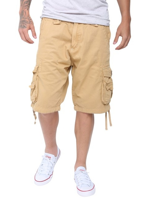 Mens Casual Slim Fit Cotton Solid Multi-Pocket Cargo Twill Shorts Black 30