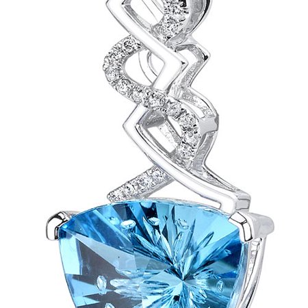 Peora 14 Karat White Gold Trillion Cut 6.07 carats Swiss Blue Topaz Diamond (Topaz Trillion Pendant)