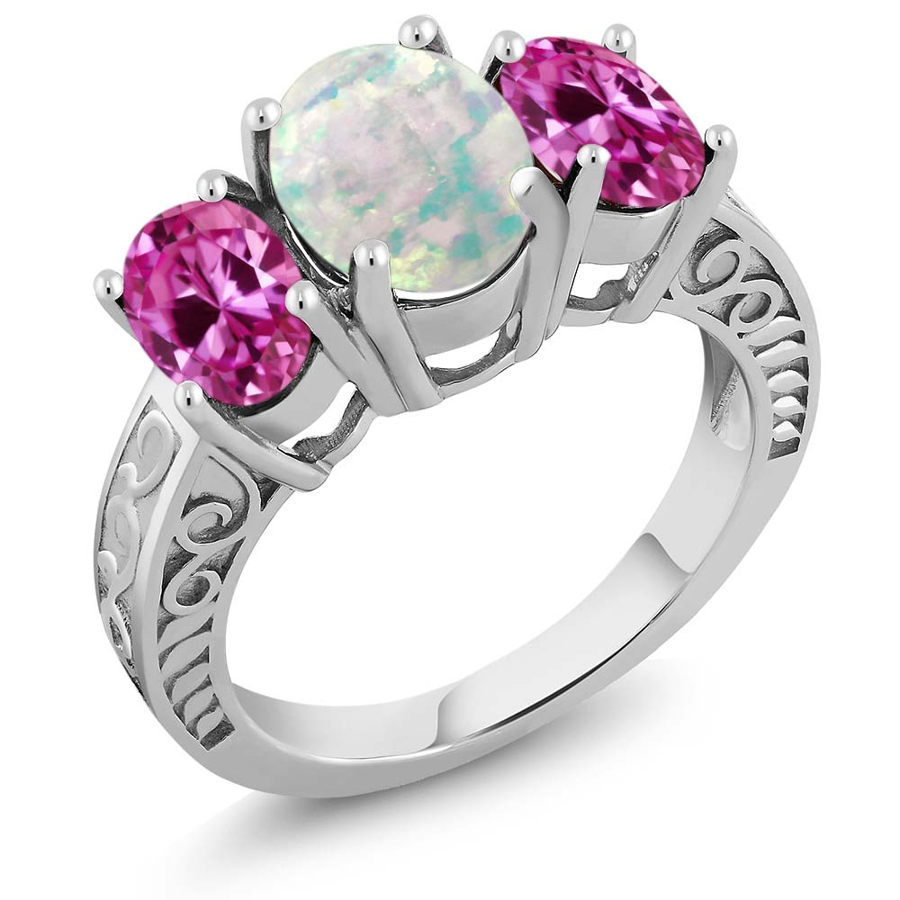 2.40 Ct Oval White Simulated Opal Pink Created Sapphire 925 Sterling Silver Ring by