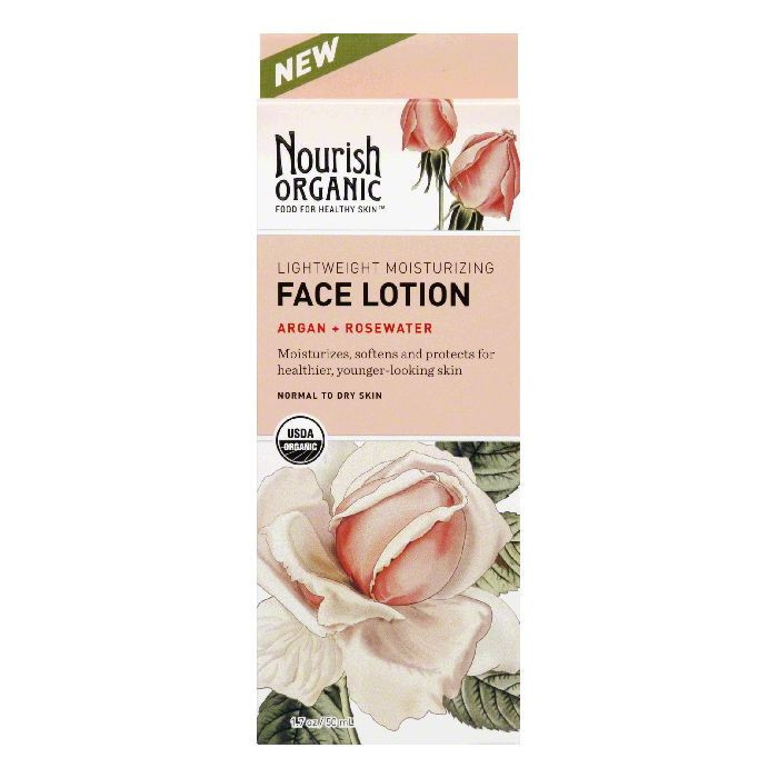 Nourish Organic Face Lotion, Lightweight Moisturizing, Normal to Dry Skin, 6.77 fl oz