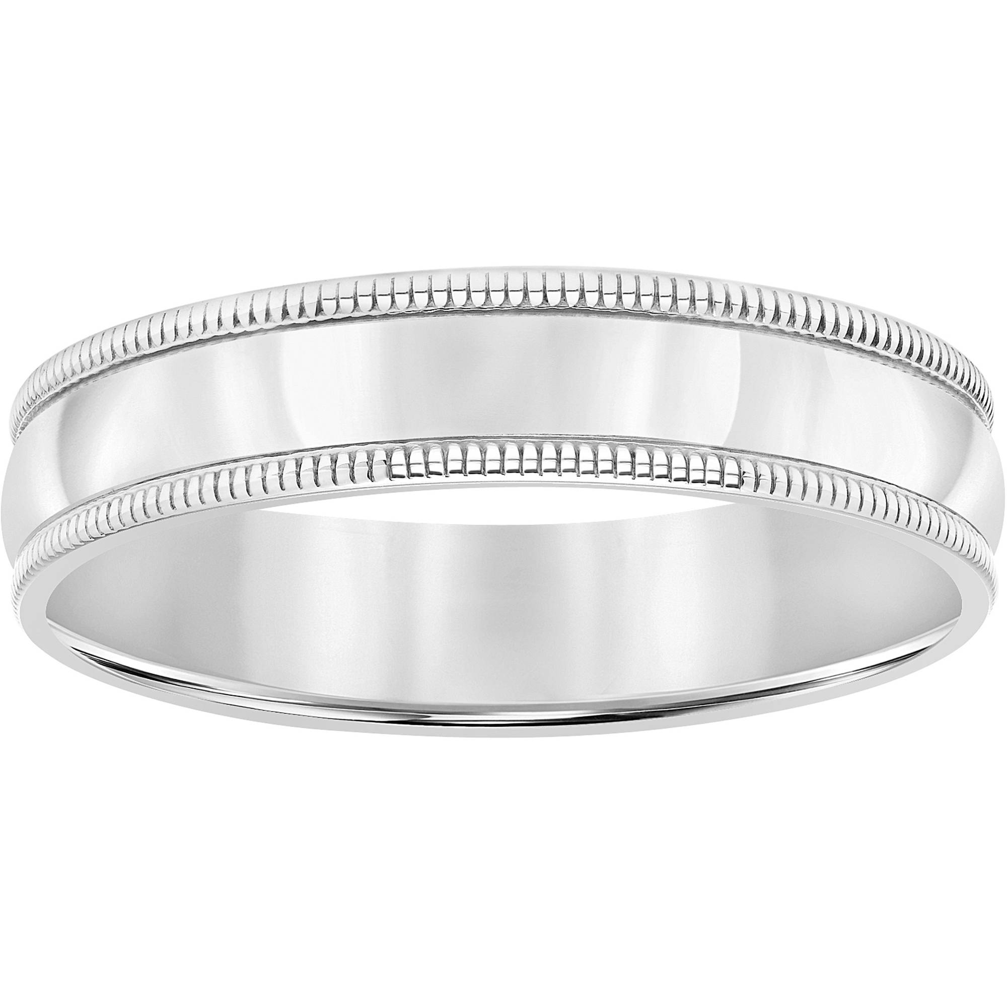 Sterling Silver Milgrain Comfort Wedding Band, 5mm