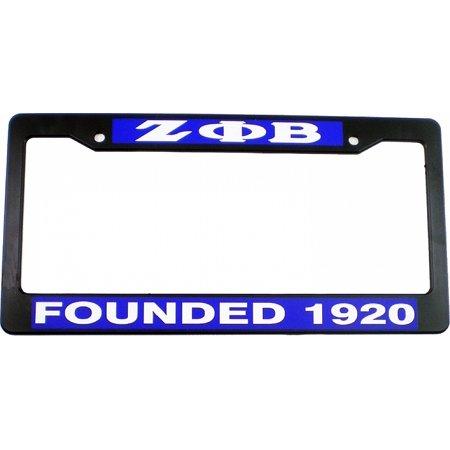 Zeta Phi Beta Founded 1920 Plastic License Plate Frame [Black - Car/Truck] - 1920 Decorations