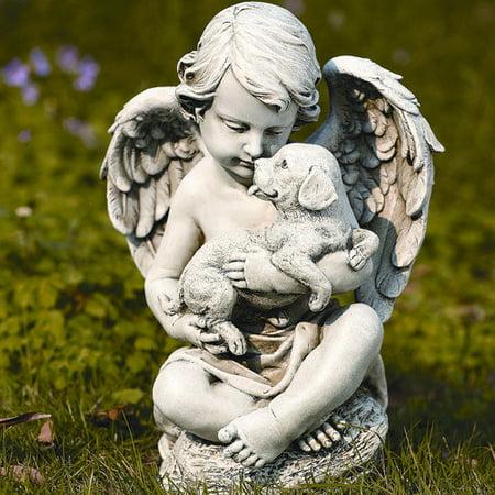 Joseph Studio Cherub Angel with Puppy Dog Outdoor Garden Statue Josephs Studio Cherub