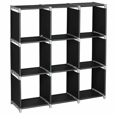 Beautiful Display Cabinet (3 Tiers 9 Compartments Storage Shelves, DIY Modular Bookcase Bookshelf Toy Rack, Display Cabinet and Closet Organizer Unit for Bedroom Living Room Office, Black )