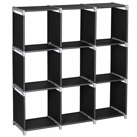 3 Tiers 9 Compartments Storage Shelves, DIY Modular Bookcase Bookshelf Toy Rack, Display Cabinet and Closet Organizer Unit for Bedroom Living Room Office, - Modular Armless Unit