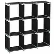3 Tiers 9 Compartments Storage Shelves, DIY Modular Bookcase Bookshelf Toy Rack, Display Cabinet and Closet Organizer Unit for Bedroom Living Room Office, Black