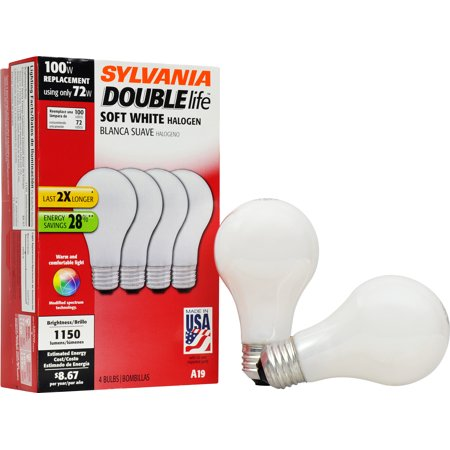 Electrical Light Bulb Double Contact (Sylvania Double Life 72W Halogen Light Bulbs, Soft White, 4-Pack )