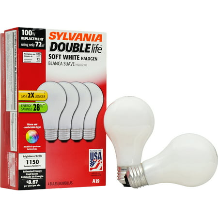 Sylvania Double Life 72W Halogen Light Bulbs, Soft White, 4-Pack