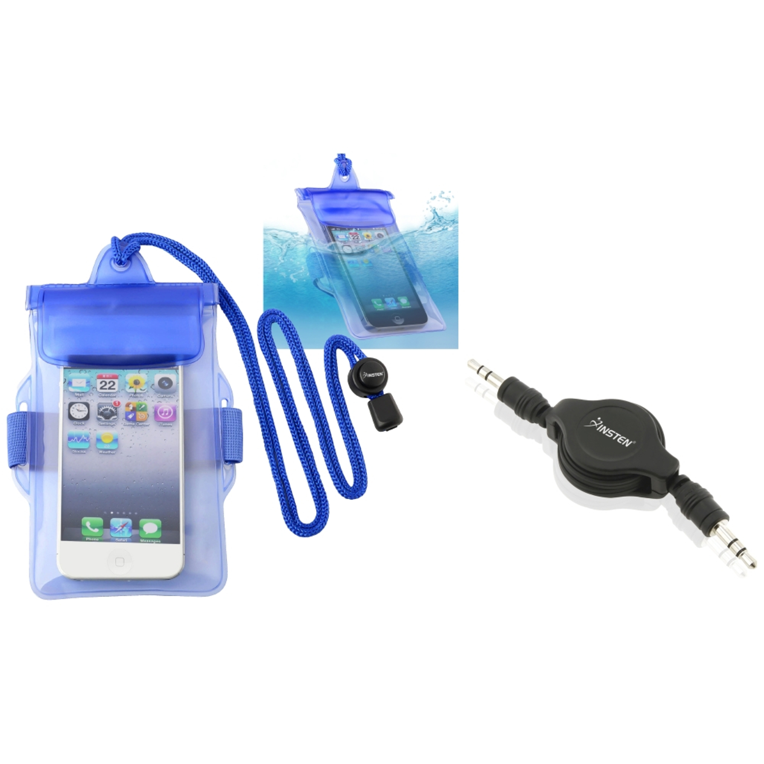 Insten Black Audio Cable+Blue Waterproof Bag Case for Samsung Galaxy S II i9100 Attain