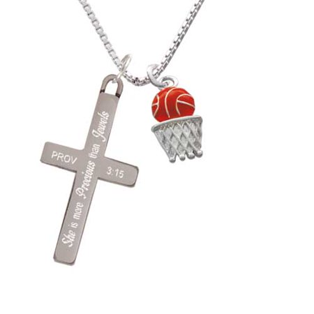 Basketball - Over Hoop - She is More Precious - Cross Necklace (Basketball Necklaces)