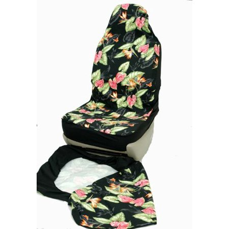 hawaiian car seat covers black bird of paradise set of 2 front bucket seat covers made in. Black Bedroom Furniture Sets. Home Design Ideas