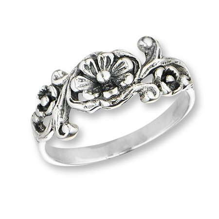 Oxidized Flower Filigree Daisy Vintage Ring .925 Sterling Silver Band Size