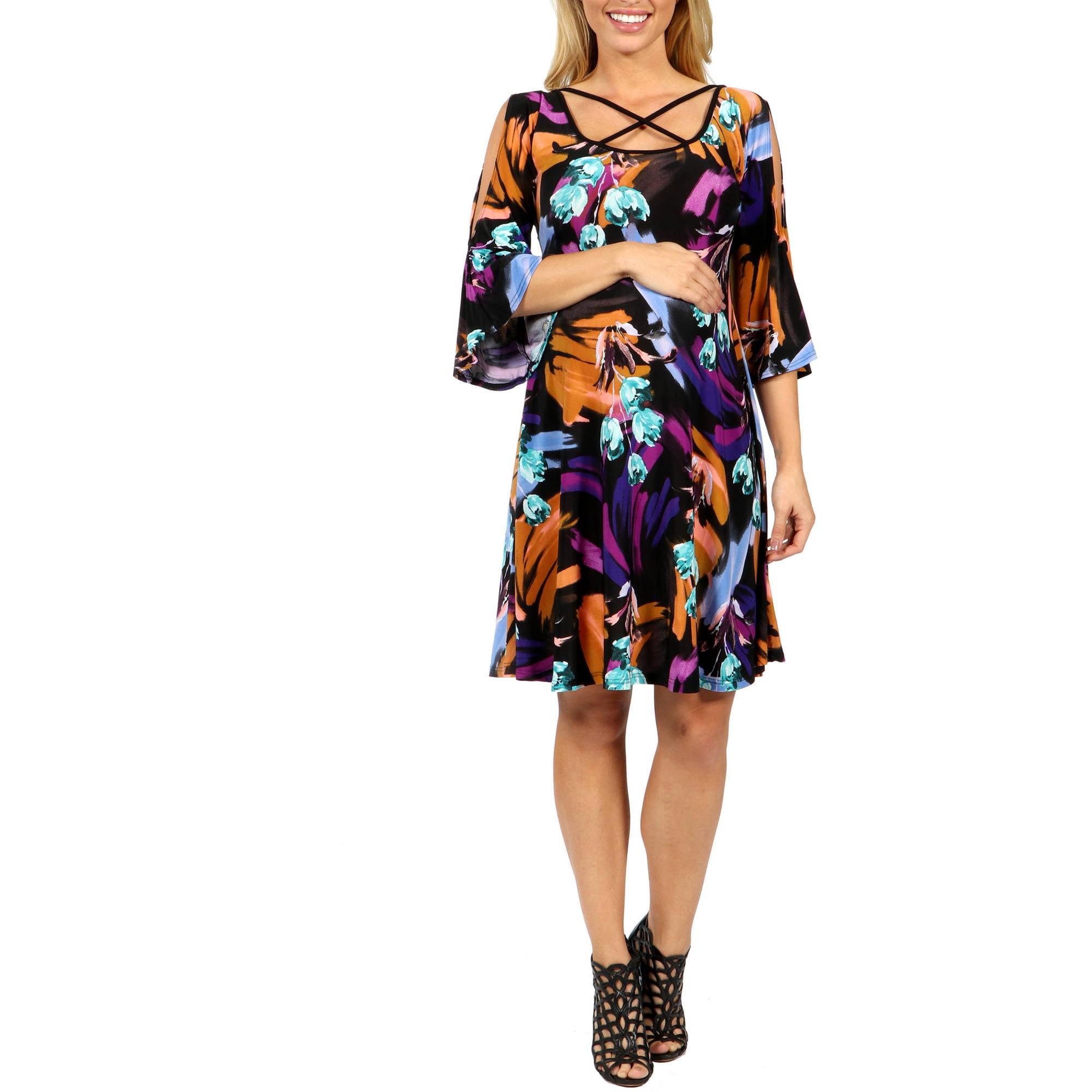 24/7 Comfort Apparel Wonderful Watercolors Criss Cross Maternity Dress